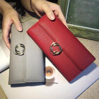 Harga Long Lady Wallet Purse Leather Women Wallets Brand Design High Quality Long Lady Wallet Purse Clutch Red - intl