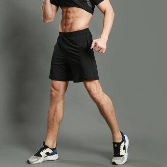 Harga Pro Men Quick-dry Sport Short Pants For Training Running - Black - intl