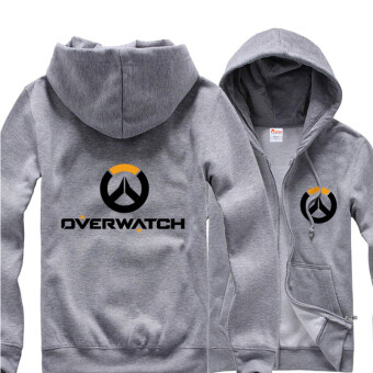 Harga Overwatch Symbol Game Cosplay Coat Men's Women's Jacket Casual Sweatshirt Hoodie Coat Collection(Grey) - intl