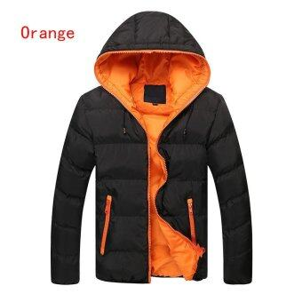Harga Men's Slim Casual Warm Jacket Hooded Winter Thick Coat Parka Overcoat Hoodde Coat New (Orange) - intl