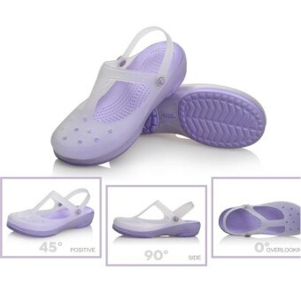 Harga New 2017 Women Sandals color change Mary Jane shoes Summer croc Beach jelly shoes flat sandals woman Slides(Purple) - intl