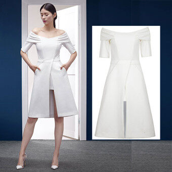 Harga Elegant Women Dress Party Dress Off Shoulder Short Sleeve White Irregular Midi Dress - Intl