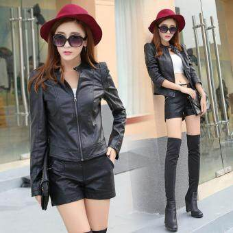 Harga Grandwish Women Stand collar PU Leather Coat Motor Jacket Short Coat Slim S-L (Black) - intl