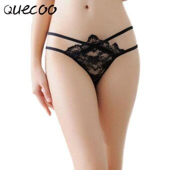 Harga QUECOO 10pcs/lots Sexy lingerie lady no trace lace jacquard low waist temptation with sexy T pants women's underwear - intl