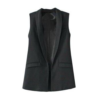 Harga Pure Color Long Sleeveless Vest