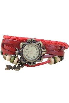 Harga Lady Retro Weave Leather Bracelet Quartz Watch Red