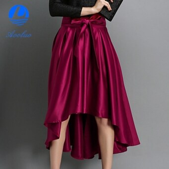 Harga Aooluo European Style Fashion Women Career Leisure Solid Irregular Hem Skirt (Wine Red) - intl