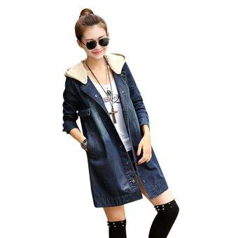 Harga Korea Latest Denim Coat Cozy Personality Hooded Long Sleeve Wear Coat 3XL - intl