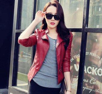 Harga Women Motorcycle PU Jacket Biker Coat Leather Jackets Short Outerwear Coat(Wine Red) - intl