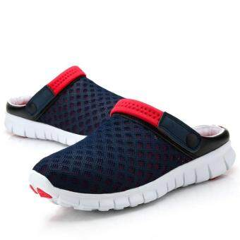 Harga Summer New Men Women Slip-on Flats Shoes Breathable Mesh Leisure Unisex Couples Shoes(Blue red) - intl