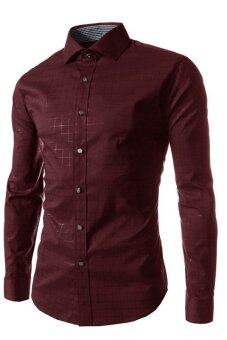 Harga Casual Long Sleeved Plaid Shirt (Wine Red)