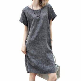 Harga Women European Style Flax Dress Comfort Loose Dress Plus Size Dress - intl