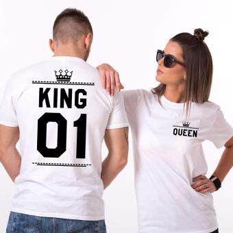 Harga Hequ Matching Couples Shirts King and Queen Love Double Print Cupid Tees KING(For Men) QUEEN(For Women) White - intl