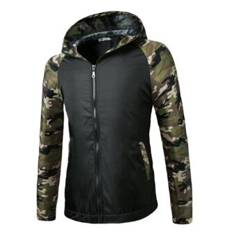 Harga 2016 Camouflage Hoodies Jacket Mens Hooded Coat Short Winter Coats Casual Hoodies Coat - Intl