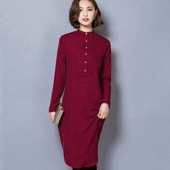 Harga Women's Extra Long Pull-over Shirt (Cherry)