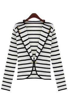 Harga Women Outwear Suit OL Blazer Long Sleeve Striped Career Short Jacket Coat