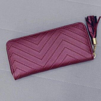 Harga BUYINCOINS Fashion Women Lady Purse Leather Card Holder Long Wallet Clutch Checkbook Tassel Handbag Red - intl