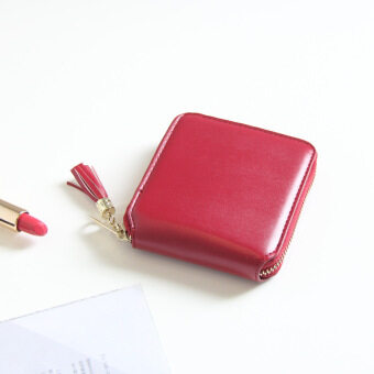 Harga Solid Color Detachable Tassel Zipper Square Wallet for Lady Women Coin Purse PU Leather (Red) - intl