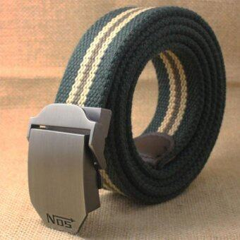 Harga HOLA New Fashion Men's Casual Automatic Buckle Canvas Belt(Army Green Stripe) - intl