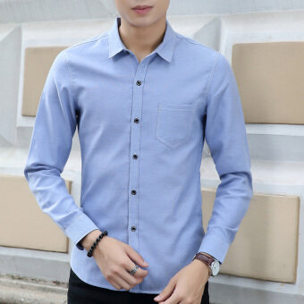Harga Men's Solid Long Sleeve Cotton?Work Dress Shirts Blue - intl