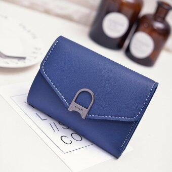 Harga AOYI Wallet Women Female 2016 New Lady Short Women Wallets Mini Money Purses Fold PU Leather Bags Female Coin Purse Card Holder ( Blue ) - intl