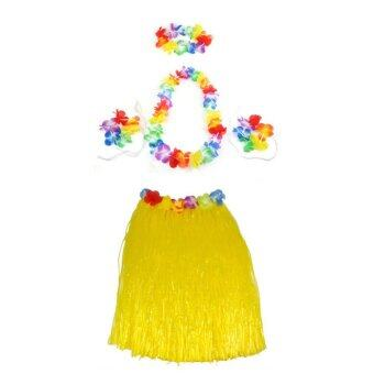 Harga Color Hawaiian Tropical Hula Luau Grass Dancer Skirt & Flower Headband Bracelet and Necklace Set - intl