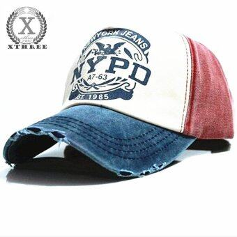Harga Hot Brand Cap Baseball Cap Fitted Hat Casual Cap Gorras 5 Panel Hip Hop Snapback Hats Wash Cap for Men Women(blue red) - intl
