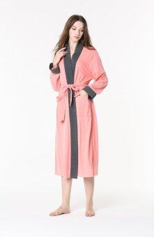 Harga Women's Robe Knitted Cotton Sleepwear Long Sleeve Pink Bathrobe