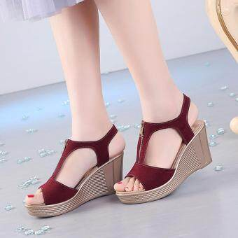 Harga Sandals Genuine Leather Lady Rome Style Shoes High Quality Wedges Non-slip Woman Sandals (Red) - intl