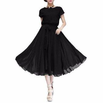 Harga Women Dress Party Ball Chiffon Dress Long Casual Dress with Belt(Black) - intl