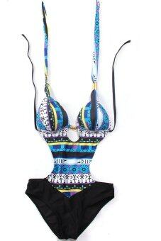 Harga Hanyu Sexy One-Piece Swimwear Bohemia Style Swimsuit Blue - intl
