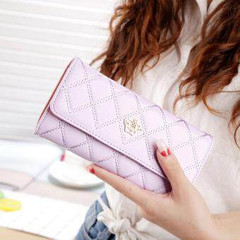 Harga Promotions Lady Women Clutch Long Purse Leather Wallet Card Holder Handbag Bags Purple - intl
