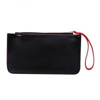 Harga Women Lady PU Leather Clutch Wallet Long PU Card Holder Purse Handbag Black