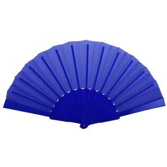 Harga Portable Wedding Bridal Party Favor Plastic Fabric Hand Held Folding Summer Fan Dark Blue