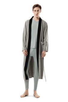 Harga Men Robe Knitted Cotton Bathrobe Long Sleeve Nightgown Grey Sleepwear