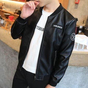 Harga Autumn New Design Fashion Men's Casual Leather Jacket Coat Slim Korean Zipper Male Tide Motor Jackets Coats - intl