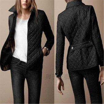 Harga LALANG Fashion Women Coat Lapel Single-breasted Slim Warm Coats Black - intl