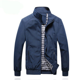 Harga HengSong New Autumn Men's Stand Collar Solid Coat Casual Slim Outwear Coat Jacket Blue - intl