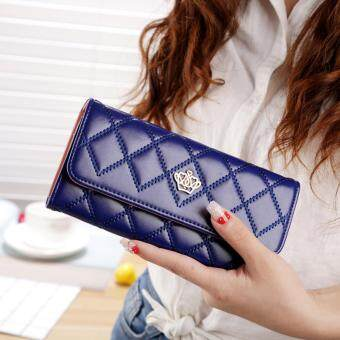 Harga Promotions Lady Women Clutch Long Purse Leather Wallet Card Holder Handbag Bags Sapphire Blue - intl