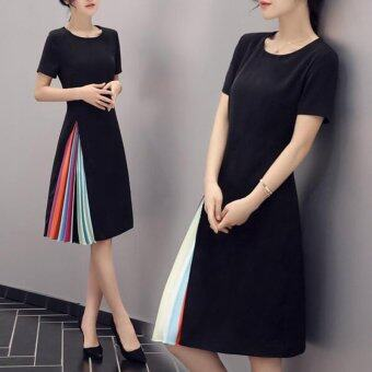 Harga Woman European Black leg summer Korean Knee-Length slim retro short sleeved dress Ladies Pleated dress