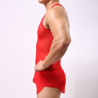 Harga Man 's Fitness Breathable Vest (red)