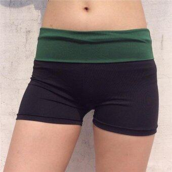 Harga LALANG Women Summer Shorts Patchwork Skinny Sports Short Jogging Running Short Gym Fitness Yoga Shorts (Green) - intl