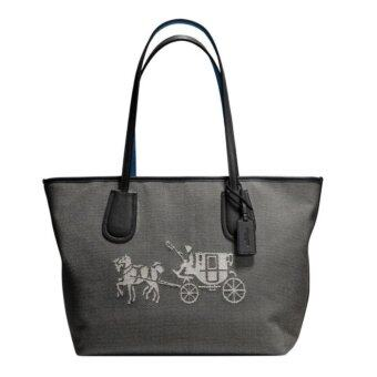 Harga COACH EMBOSSED HORSE AND CARRIAGE ZIP TOTE IN CANVAS 35337 Black