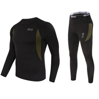 Harga Star Mall Men's Ultra Soft Thermal Underwear Long Johns Set with Spandex Lined Black L - intl
