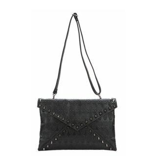 Harga Punk Skull Spike Envelope Woman Lady Leather Clutch Handbag Bag Black