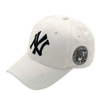 Harga NY Hip-Hop Style Lovers Adjustable Snapback Cotton Baseball Cap Unisex White HY-010 - intl