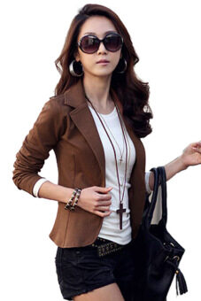 Harga Sunwonder Women OL Coat Lapel One Button Long Sleeve Short Suit Blazer Jackets Coats�����Brown)