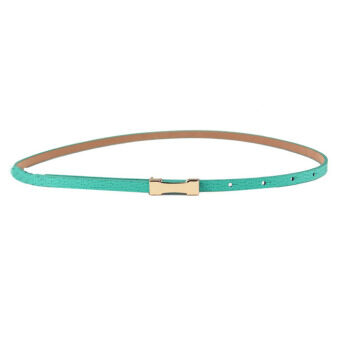 Harga Women Lady Fashion Metal Fhin Gold Buckle Skinny PU Leather Waistband Belt Green
