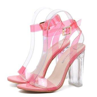 Harga Ai Home Summer Thick High-heeled Crystal Shoes Transparent Sandal35 (Pink) - intl