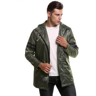Harga Men Lightweight Hooded Zip-up Waterproof Rain Coat Trench Coat Jacket Army Green - intl